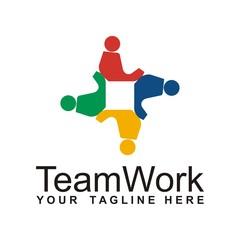 Teamwork logo design icon vector