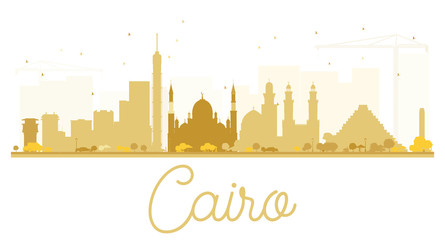 Cairo City skyline golden silhouette.