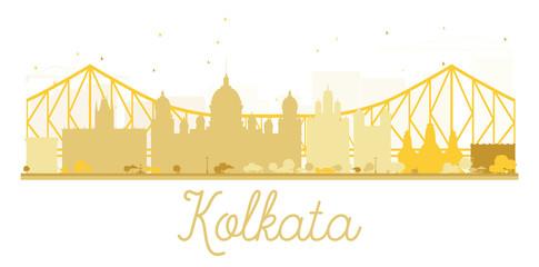 Kolkata City skyline golden silhouette.