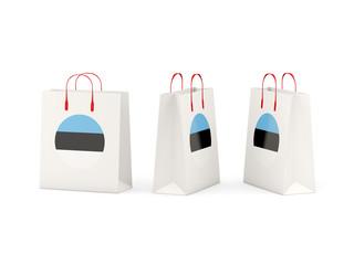 Flag of estonia on shopping bags