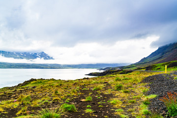 View of mountain and rain clouds in north Iceland