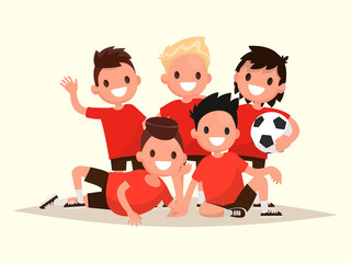 Children's football team. Portrait of young soccer players. Vect