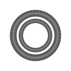 print wheel circle tire shape black icon. Isolated and flat illustration. Vector graphic