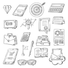 Business, finance and banking sketch icons