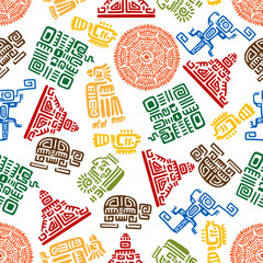 Seamless pattern of mayan and aztec ornament
