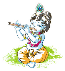 God Krishna Janmashtami. Boy shepherd playing flute