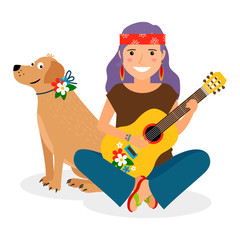 Hippie Girl with Guitar and Dog. Vector illustration