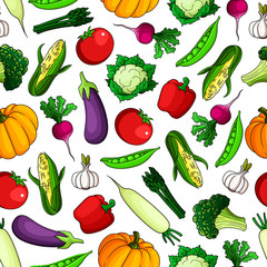 Wholesome fresh vegetables seamless pattern