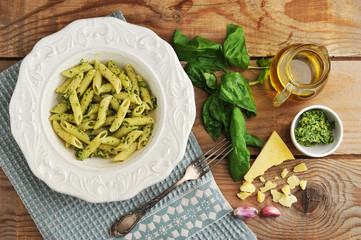 pasta feathers with pesto, Basil and cheese and olive oil