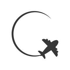 airplane circle silhouette travel transporation flying icon. Isolated and flat illustration. Vector graphic
