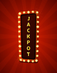 Jackpot retro banner with glowing lamps. Vector illustration with shining lights in vintage style. Label for winners of poker, cards, roulette and  lottery.