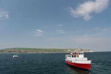 Ferry anchored in Swanage Bay, Dorset