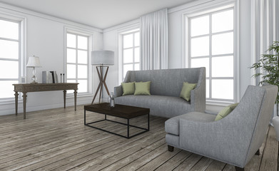 3d rendering nice loft furniture in comtemporary living room