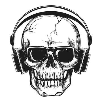 Human skull with headphones and sunglasses enjoying music vector illustration