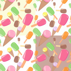 Set of four seamless ice cream patterns