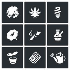 Vector Set of Rastaman Icons. Dreadlocks, Marijuana, Light, Smoking, Drug, Bong, Hydroponics, Money, Farm.