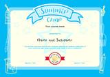 Kids summer camp certificate document template with hand drawing kids summer camp document certificate template with light blue border yadclub Gallery