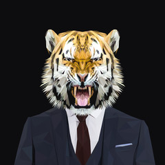 Tiger animal dressed up in navy blue suit with red tie. Business man. Vector illustration.