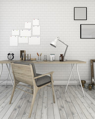 3d rendering white brick wall with loft style working room