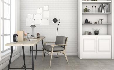 3d rendering white brick wall working room