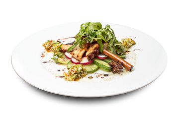 vegetable salad with octopus decorated with cinnamon stick and Dittany on a round plate on a white background