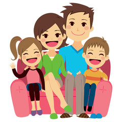 Illustration of cute happy family of four people sitting on sofa