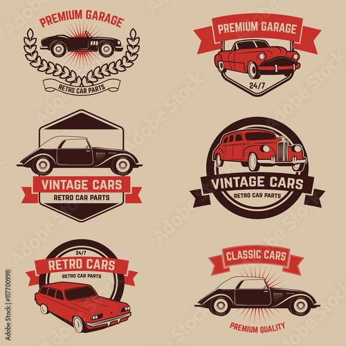 Set Of Retro Car Service Emblems Vintage Vehicle Repair Autom