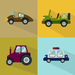 Aluminium Prints Cartoon cars Transport Icons Set