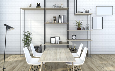 3d rendering white brick living room with shelf decoration