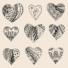 Hand drawn set of black hearts