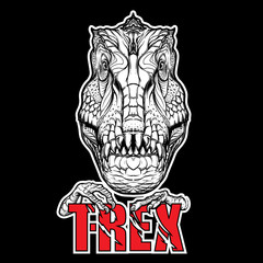 Tyrannosaurus head with t-rex sign on black background