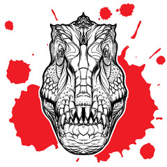 Tyrannosaurus head on the red blood spot white background