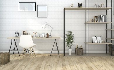 3d rendering white vintage working room with nice design shelf