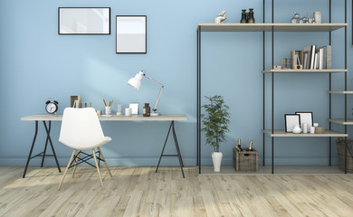 3d rendering blue vintage working room with nice design shelf