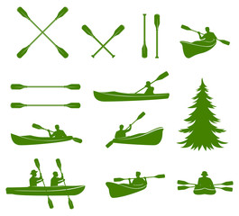 Canoe silhouettes. Rafting.