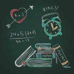 Sketchy drawings on blackboard