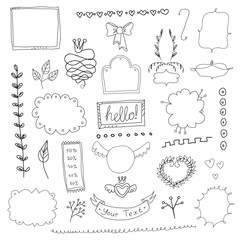 Set of hand drawn page elements