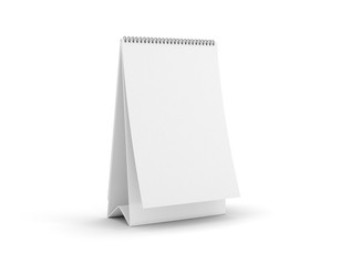 Blank paper desk spiral calendar with soft shadows