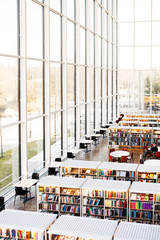 High angle view of library with glass windows