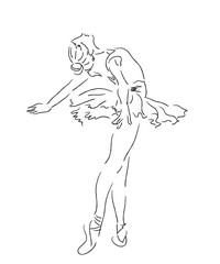 Ballerina women line art illustration; beautiful classical dancer.