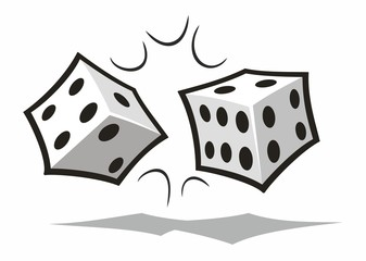 Two White Dice Tumbling Together