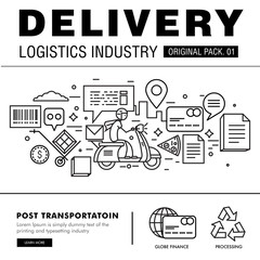 Modern delivery industry pack. Thin line icons set logistic network . Transport set collection with global industry elements. Premium quality vector symbol. Stroke pictogram for web design.