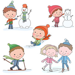 Collection of kids in winter