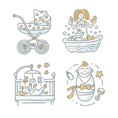 Baby illustration Set on white background