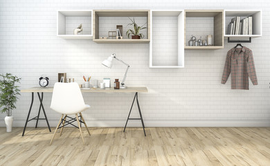 3d rendering white vintage working room with nice shelf
