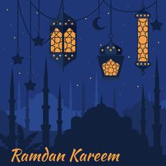 Ramadan Kareem - Islamic Holy Nights, Theme Design background, Ramadan latern, saint fest, arabian and turk religion culture set, Mosque with minaret, east cityscape, Night city