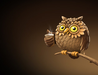 Night owl with coffee. Illustration
