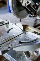 Close-up of circular saw in workshop