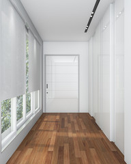 3d rendering white walk in closet with laminate wood floor