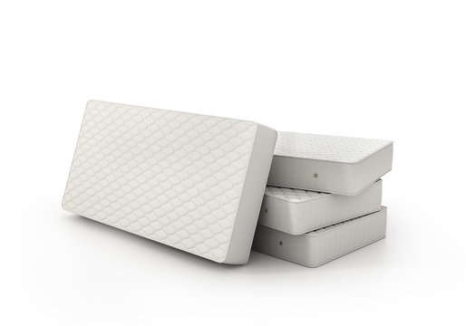 Stack of mattress isolated on white background. 3d